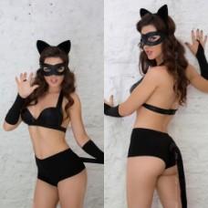 Костюм кошечки Catwoman (5 предметов), черный (SoftLine) (S) (183111S)