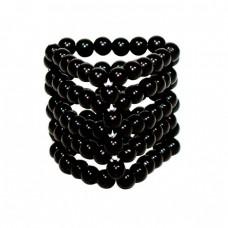 Стимулирующая открытая насадка с бусинами на пенис Black Beads