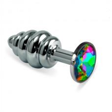 """Пробка анальная """"Vandersex"""", S, металл, рельеф, разноцветный кристалл, Silver (185-RHS)"""