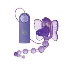 Стимулятор клитора на ремнях Waterproof Venus с анал. цепочкой фиолет. (SE-0592-50-3)