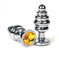 """Анальная пробка """"Vandersex"""" рельеф, металл, оранжевый кристалл S, Silver (185-ROS)"""