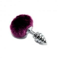 Серебряная втулка с фиолетовым хвостиком, l=6,8см, d=2,8см (RO-T05-2)