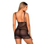 Сорочка черная с кружевной вставкой и трусиками-стринги Firella (Obsessive) (S/M)