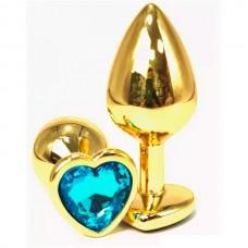 """Пробка """"Vandersex"""" золото, сердце, кристалл бирюзовый, M"""