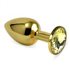 """Пробка анальная """"Vandersex"""", S, металл, желтый кристалл, Gold"""