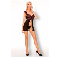 "Сорочка черно-бордовая и трусики ""Casarann"" (LivCo Corsetti Fashion) (L\XL)"