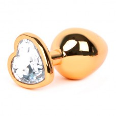 "Анальная пробка ""Vandersex"" металл, белый кристалл, сердце S, Gold (170-GSW)"