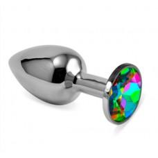 "Анальная пробка ""Vandersex"" металл, разноцветный кристалл S, Silver (169-SH)"