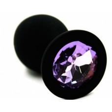 """Пробка анальная """"Kanikule"""", M, силикон, светло-фиолетовый кристалл, Black (KL-S003M)"""