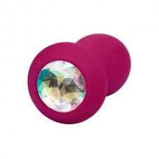 Анальная пробка с кристаллом и вибрацией Power Gem Vibrating Petite Crystal Probe,розовый, 8,25*3,25
