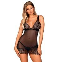 Сорочка черная с кружевной вставкой и трусиками-стринги Firella (Obsessive) (L/XL)