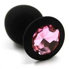 """Пробка анальная """"Vandersex"""", S, силикон, светло-розовый кристалл, Black (122-1BP1)"""