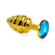 """180-GLB1 Пробка """"Vandersex""""золото,рельеф, голубой кристалл"""