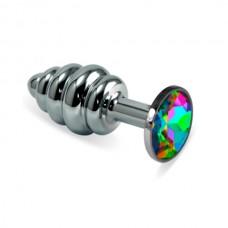 """Пробка анальная """"Vandersex"""", M, рельеф, металл, разноцветный кристалл, Silver (185-RHM)"""