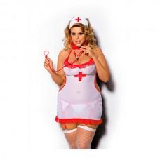 Костюм медсестры Angels Never Sin Shane (сорочка, головной убор и стринги-пояс с пажами для чулок),